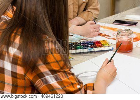 Creativity Workshop, Art Education. Creative Hobby. Art Lesson. Female Hand With Paintbrush. Girl St
