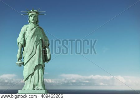American depression, USA democracy problems concept. Sad and depressed Statue of Liberty with with a lowered torch. 3d illustration