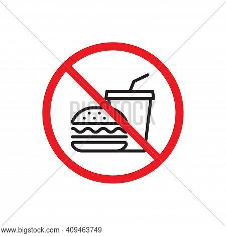 No Hamburger, No Drink Icon Vector. No Junk Food. Health Care Concept For Your Web Site Design, Logo