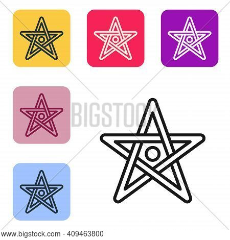 Black Line Pentagram Icon Isolated On White Background. Magic Occult Star Symbol. Set Icons In Color