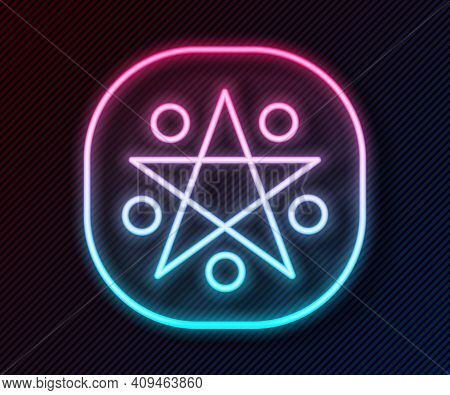 Glowing Neon Line Pentagram In A Circle Icon Isolated On Black Background. Magic Occult Star Symbol.