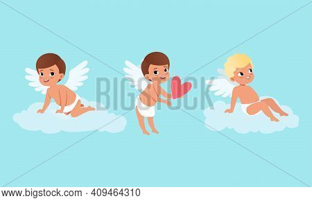 Cute Baby Cherubs Angels With Wings Set, Lovely Boys Cupid Characters In Different Actions Cartoon V