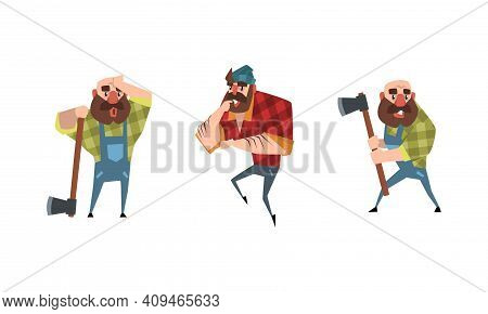 Bearded Lumberjack In Action Set, Powerful Woodcutter Character In Plaid Shirt Cartoon Vector Illust