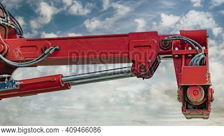 Rig Elements Against The Background Of The Blue Sky. Drilling Rig. Exploration Of Useful Minerals. I