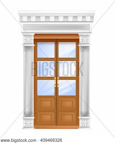 Classic Palace Wooden Door, Marble White Pillars, Entrance Portal Vector Architecture Isolated Illus