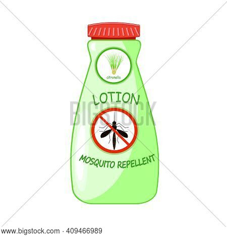 Mosquito Repellent Lotion Isolated On White Background. Plastic Bottle With Citronella And Stop Sign