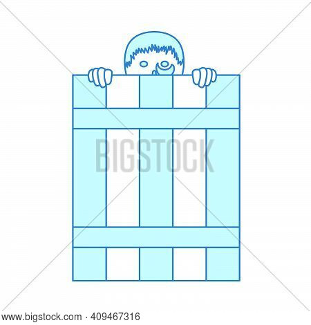 Criminal Peeping From Fence Icon. Thin Line With Blue Fill Design. Vector Illustration.