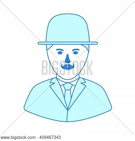 Detective Icon. Thin Line With Blue Fill Design. Vector Illustration.