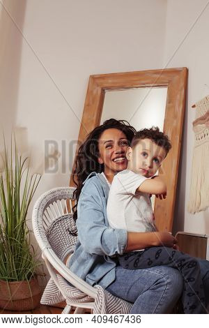 Mixed Raraces Happy Family, African American Mother With Caucasian Son Together At Home, Lifestyle P