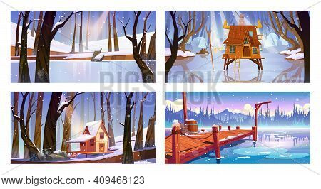 Set Of Winter Landscape Backgrounds With Wooden Houses, Frozen Swamp, Forest Lake And Pier. Shack On