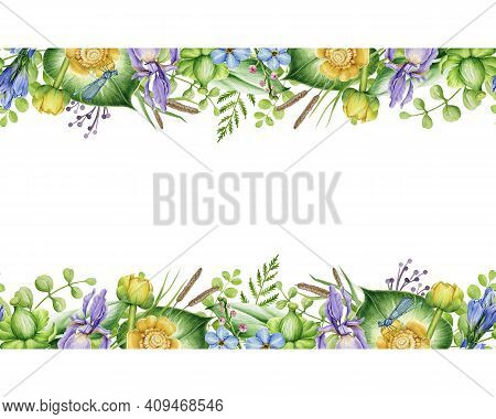 Flower Seamless Border. Spring Floral Watercolor Illustration. Water Lily, Iris Flowers And Herbs In