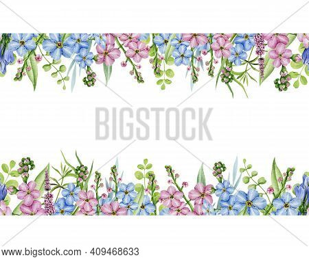 Floral Seamless Border Watercolor Illustration. Elegant Ornament Frame. Realistic Spring Flowers And