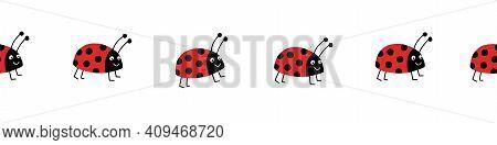 Seamless Ladybug Vector Border. Flat Red Ladybugs On White Horizontal Repeating Pattern. Cute Summer