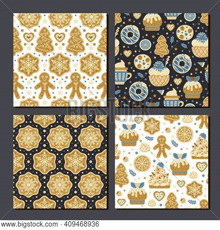 Scrapbook Cookies Pattern Set. Collection Of 4 Prints With Cookies, Candy. Vector Cute Seamless Back
