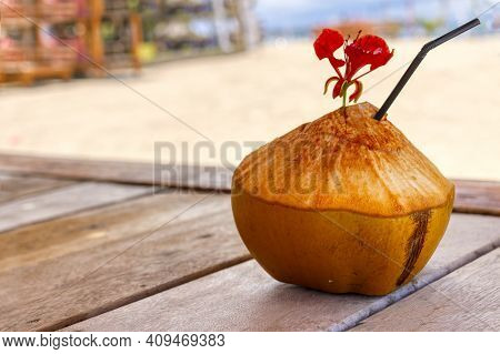 Indonesian Coconuts, A Tonic, Exotic Drink. Coconut.