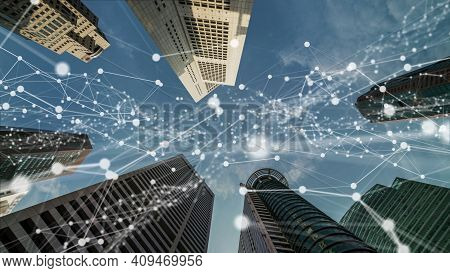 Imaginative Visual Of Smart Digital City With Globalization Abstract Graphic Showing Connection Netw