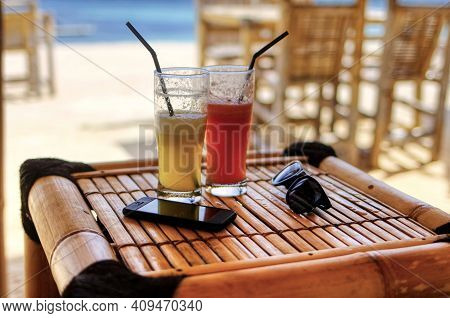 An Exotic Drink On The Beach. Tonic Dessert From The Beach Bar.