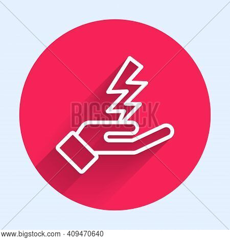 White Line Zeus Icon Isolated With Long Shadow. Greek God. God Of Lightning. Red Circle Button. Vect