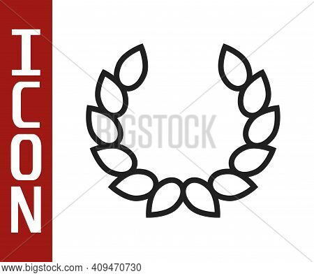 Black Line Laurel Wreath Icon Isolated On White Background. Triumph Symbol. Vector