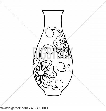 Coloring Book For Children. The Silhouette Of The Vase Is Decorated With Flowers And Buds. Black And