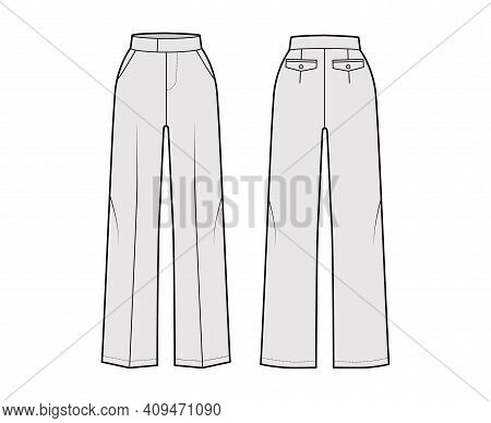 Pants Tailored Technical Fashion Illustration With Extended Normal Waist, High Rise, Full Length, Sl