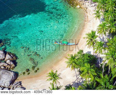 Aerial view tropical beach Sai Nuan, koh Tao, Thailand