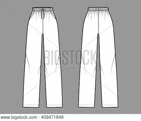 Pajama Pants Technical Fashion Illustration With Elastic Normal Waist, High Rise, Full Length, Draws