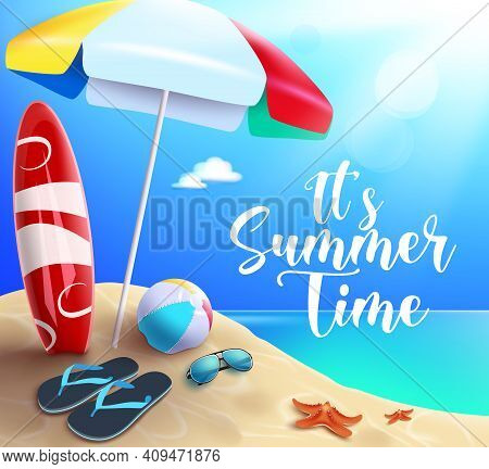 Summer Time Vector Banner Design. It's Summer Time Text In Beach Background With Tropical Season Ele