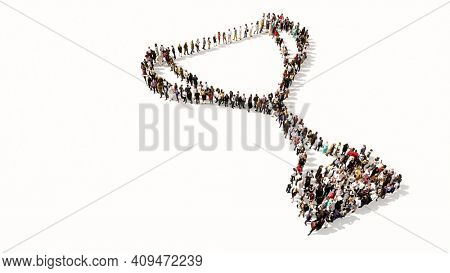 Concept conceptual large gathering of people forming the image of a cup on white background. A 3d illustration metaphor for victory, winning, success, achievement, triumph, champion, gold and prize