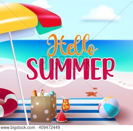Hello Summer Vector Banner Design. Hello Summer Text In Beach Seashore Background For Holiday Season