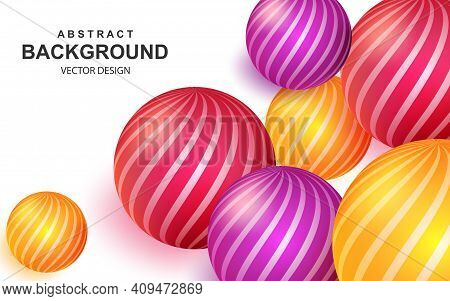 Colorful Abstract Background With Realistic 3d Balls. Bright Composition With Striped Color Spheres.