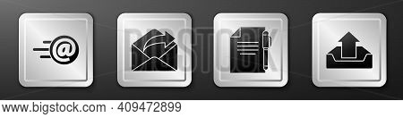 Set Mail And E-mail, Outgoing Mail, Document And Pen And Upload Inbox Icon. Silver Square Button. Ve