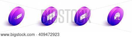 Set Isometric Express Envelope, Envelope With Valentine Heart, Envelope With Shield And Envelope Wit