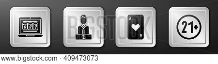 Set Laptop And Slot Machine, Casino Dealer, Playing Card With Heart And 21 Plus Icon. Silver Square