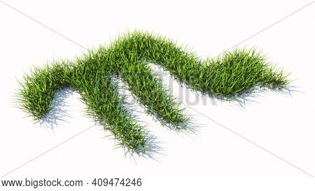 Concept conceptual green summer lawn grass symbol shape isolated white background, sign of scorpio zodiac sign. 3d illustration symbol for  esoteric, the mystic, the power of prediction of astrology