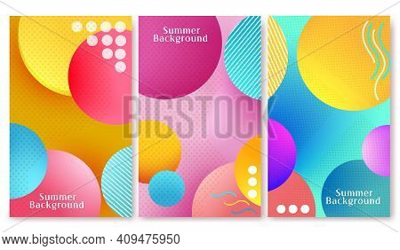 Summer Background Abstract Vector Poster Set. Summer Background Text With Colorful Circle Pattern El