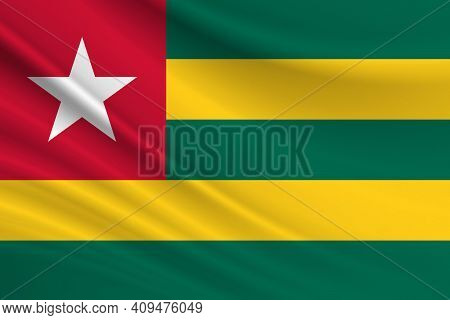 Flag Of Togo. Fabric Texture Of The Flag Of Togo.