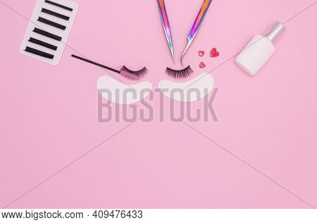 Tools And Patches For Eyelash Extensions And Artificial Eyelashes On A Pink Background. Tools For Th