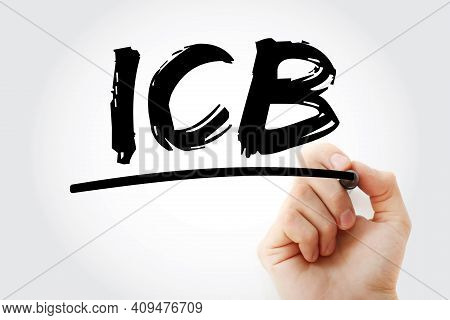 Icb - Industry Classification Benchmark Acronym With Marker, Technology Concept Background