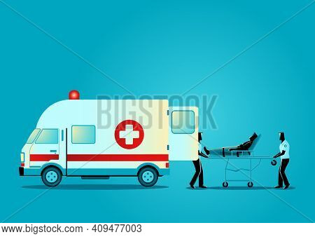 Vector Illustration Of Paramedic Team Moving Injured Man On A Stretcher Into Ambulance Vehicle