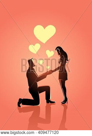 Vector Illustration Of A Man Kneeling And Holding His Girlfriend Hands While Making Wedding Proposal