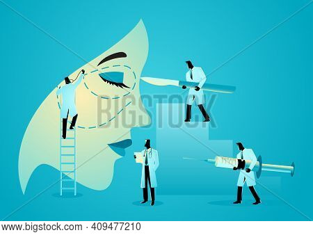 Vector Illustration Of Team Of Doctors Holding Scalpels And Syringes Near Woman Face, Symbol Of Plas