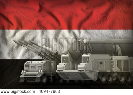 Rocket Forces On The Yemen Flag Background. Yemen Rocket Forces Concept. 3d Illustration