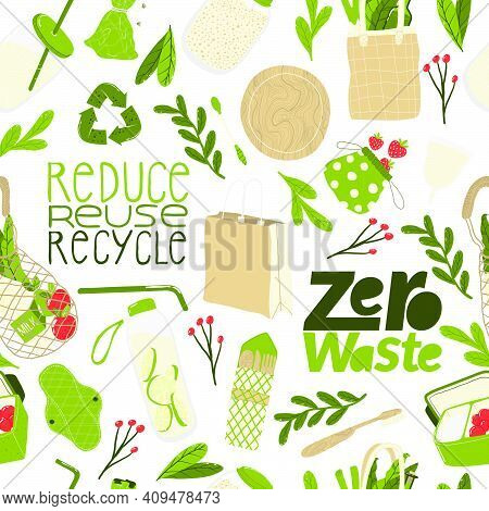 Eco Friendly Lifestyle. Seamless Pattern With  Reusable And Recyclable Objects And Eco Friendly Moti