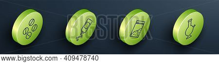 Set Isometric Medicine Pill Or Tablet, Medicine Bottle And Pills, Plastic Bag Of Drug And Glass Bong