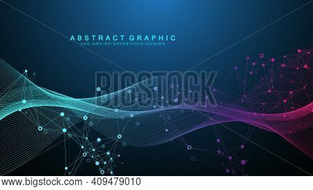Abstract Dynamic Motion Lines And Dots Background With Colorful Particles. Digital Streaming Backgro