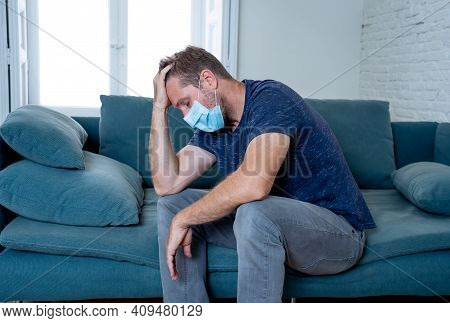 Lonely Man Suffering From Depression At Home During Coronavirus Lockdown And Social Distancing