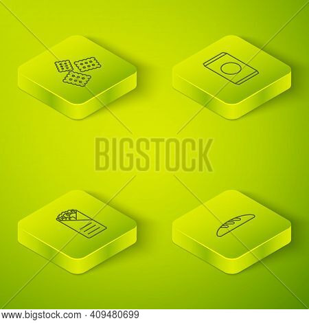 Set Isometric Soda Can With Straw, Doner Kebab, Bread Loaf And Cracker Biscuit Icon. Vector