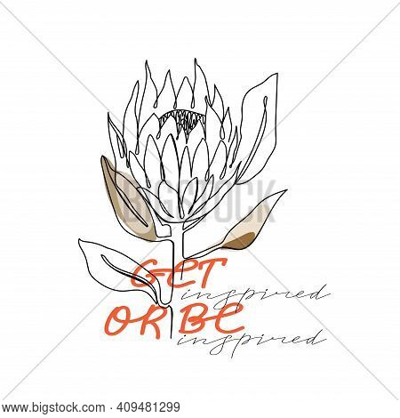 Trendy Abstract One Line Protea Flower With Pastel Shapes And Lettering. Fashion Typography Slogan D