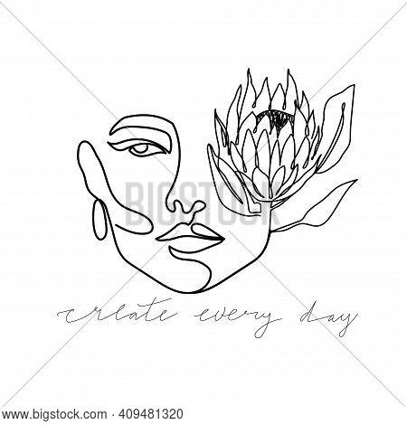 Trendy Abstract One Line Woman Face With Protea Flower And Lettering. Fashion Typography Slogan Desi